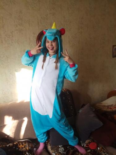 Kigurumi licorne bleu enfant