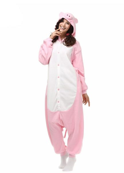 Pyjama Combinaison Cochon Vue De Face Avec Capuche