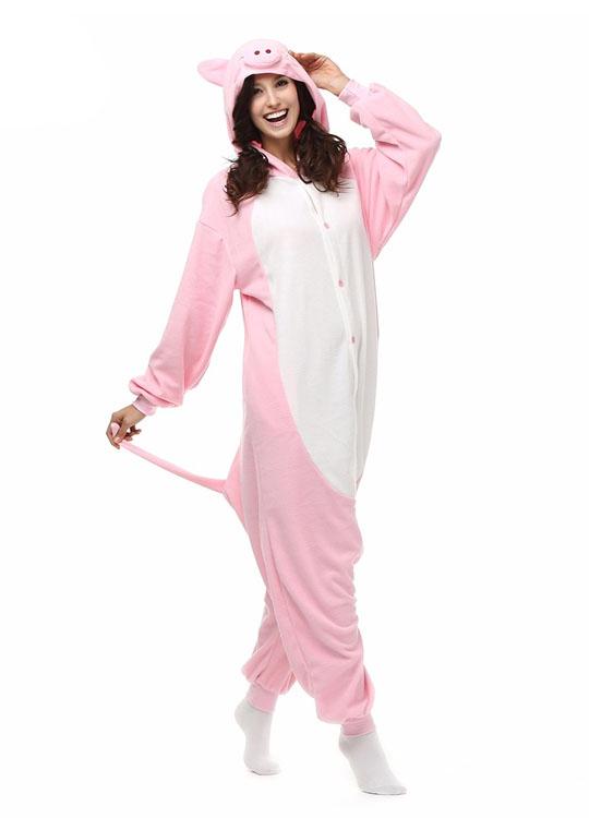 Pyjama Combinaison Cochon Vue De Face Avec Capuche 2