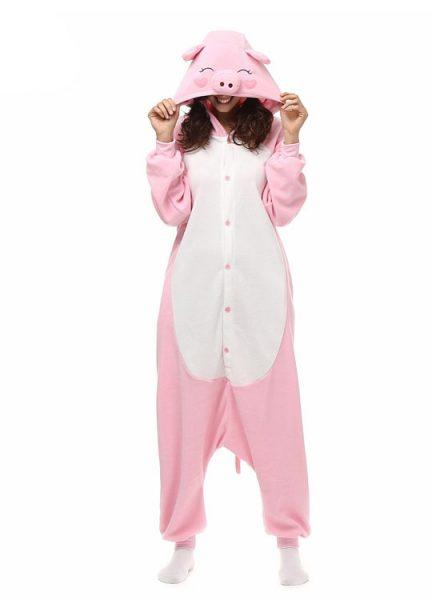 Pyjama Combinaison Cochon Vue De Face Avec Capuche 3
