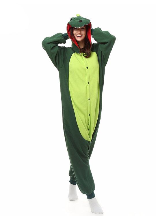Pyjama Combinaison Dinosaure Vue De Face Avec Capuche