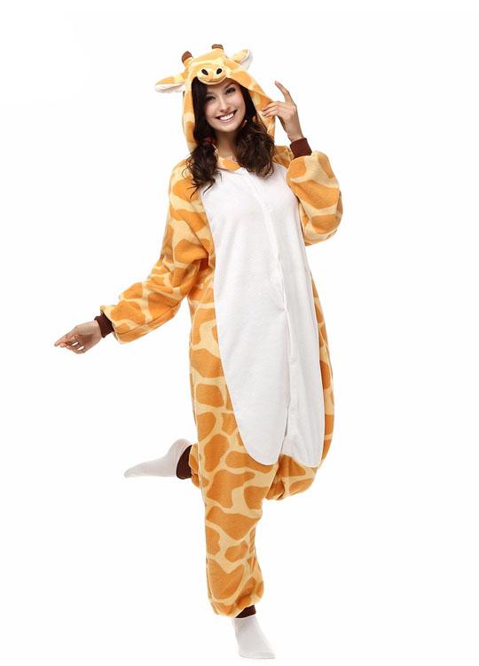 Pyjama Combinaison Girafe Vue De Face Avec Capuche