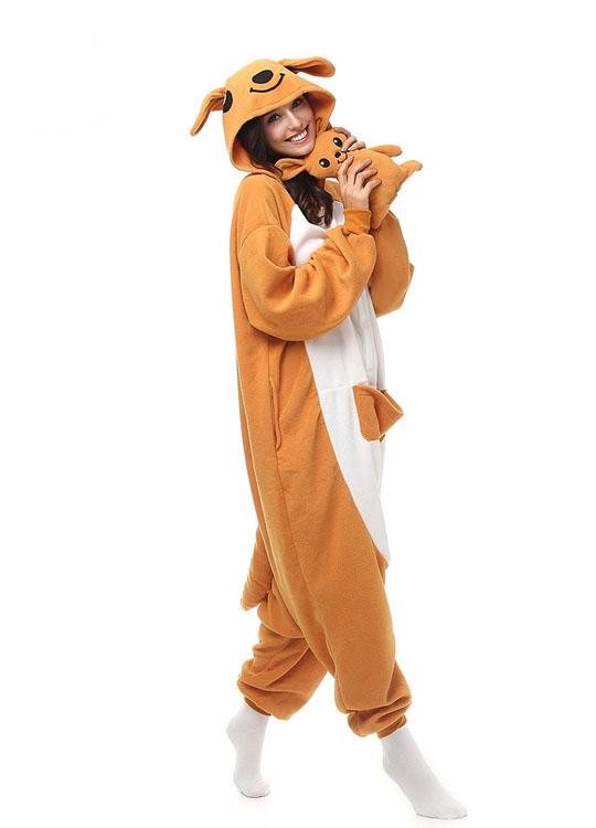 Pyjama Combinaison Kangourou Vue De Face Avec Capuche