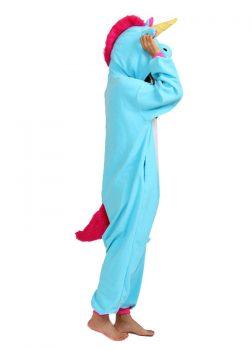 Pyjama Combinaison Licorne Bleu Vue de Côté