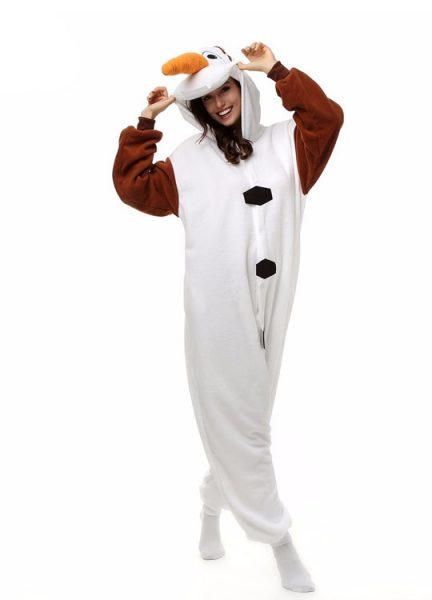 Pyjama Combinaison Olaf Vue De Face Avec Capuche