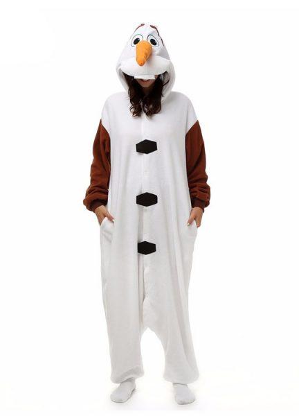 Pyjama Combinaison Olaf Vue De Face Avec Capuche 3