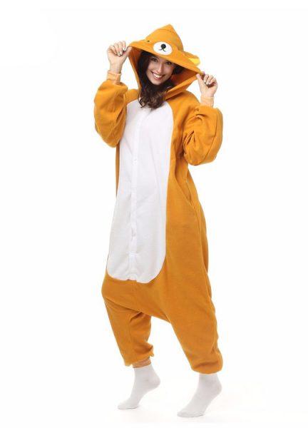 Pyjama Combinaison Ours Vue De Face Avec Capuche 2