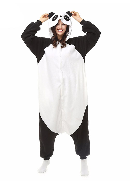 Pyjama Panda Vue De Face Avec Capuche 2