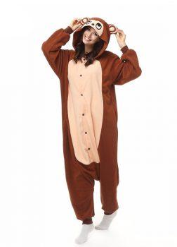 Pyjama Combinaison Singe Vue De Face Avec Capuche