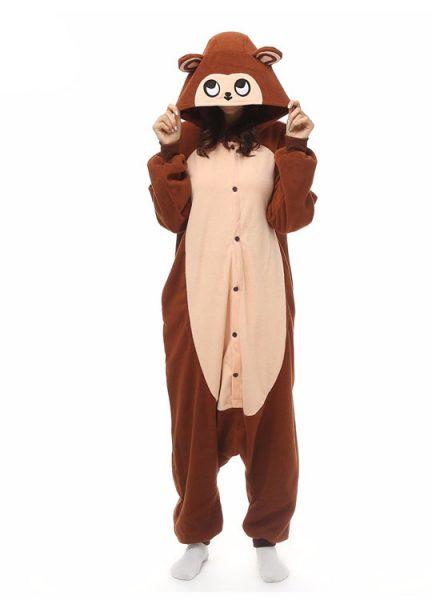 Pyjama Combinaison Singe Vue De Face Avec Capuche 3