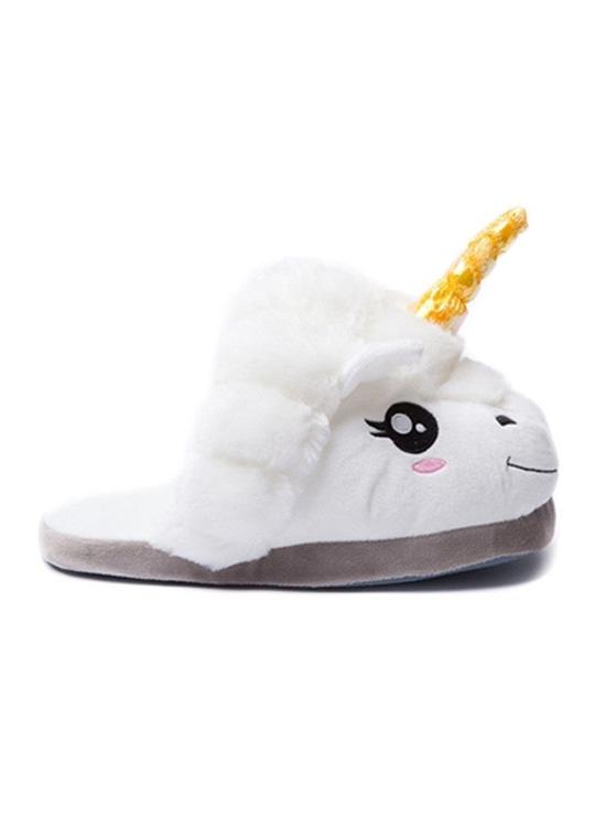 Pantoufles Licorne Blanc - Vue de Coté