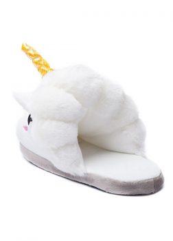 Pantoufles Licorne Blanc - Vue de Dos