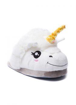 Pantoufles Licorne Blanc - Vue de Face Détail