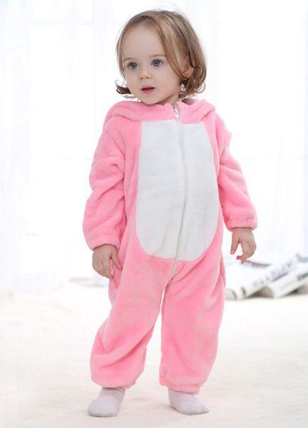 Pyjama Bebe Lapin Rose - Vue de face détail