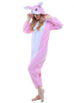 Pyjama Lapin Rose Blanc - Vue de Coté 2