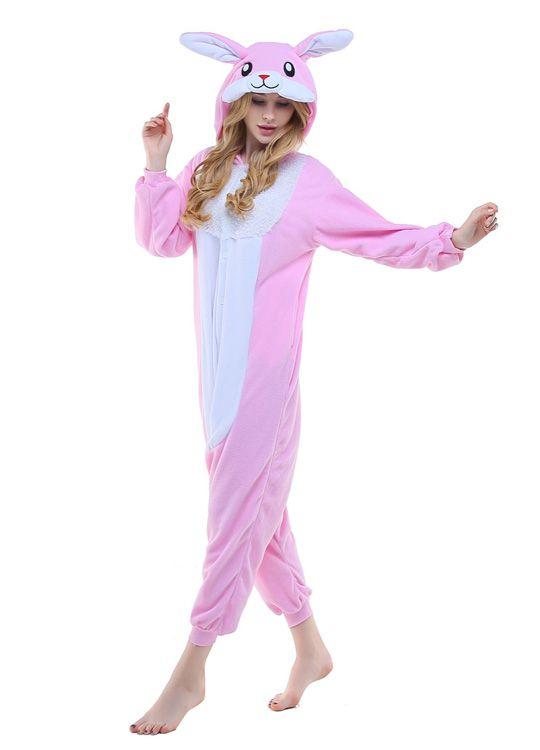 Pyjama Lapin Rose Blanc - Vue de Face 2