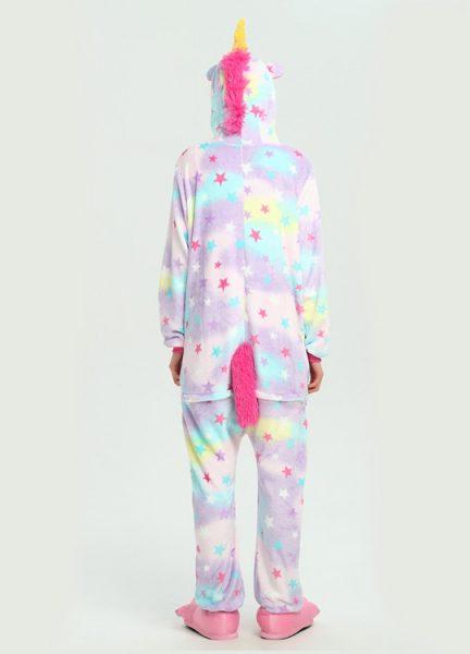 Pyjama Combinaison Licorne Arc En Ciel Etoiles - Vue de Dos