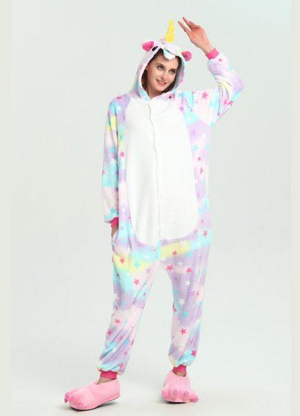 Pyjama Combinaison Licorne Arc En Ciel Etoiles - Vue de Face 2