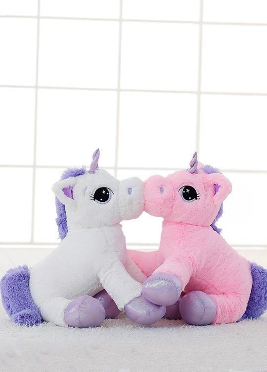 teddy bear Licorne Géante Blanche et Rose